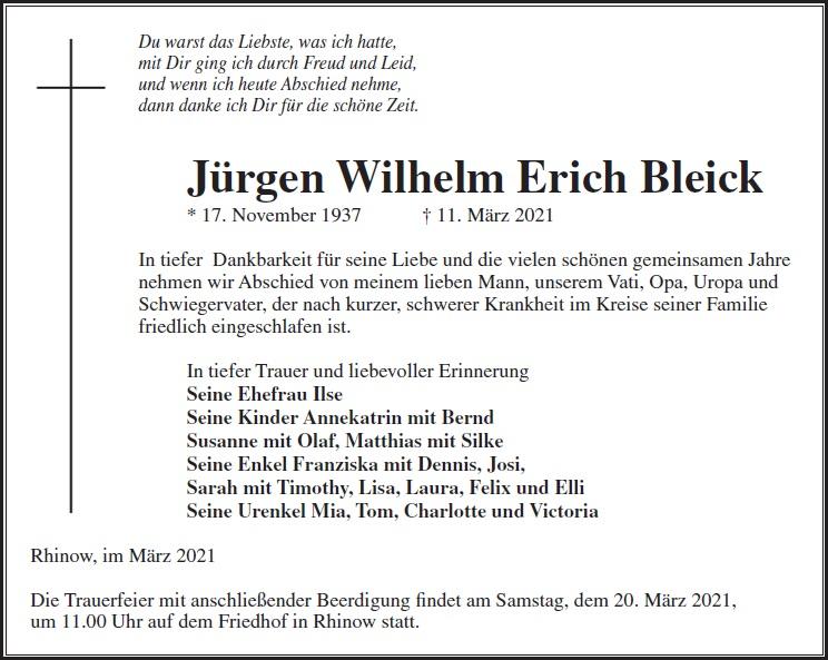 Jürgen Wilhelm Erich Bleick